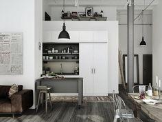 + #loft #wood #kitchen small kitchen