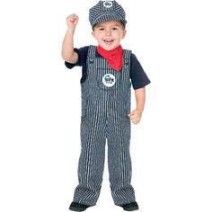 Toddler Train Engineer Costume - Train Engineer Toddler Costume Cute Railroad Conductor Costume Includes: Overall, neck scarf, and engineer hat. Available Sizes: Shirt and . Halloween Infantil, Toddler Halloween Costumes, Boy Costumes, Halloween Kids, Costume Ideas, Halloween 2018, Halloween Train, Halloween Dress, Spirit Halloween