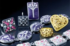 A selection of finished pieces using our incredicle Crystal Clay and Preciosa Chatons