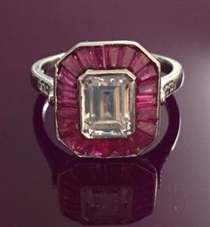 Emerald cut red baguette .925 sterling silver art deco engagement AAAA