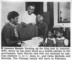 New Jamaica Govt Health Adivsor, Isom Herron and Family Pack for Jamaica Move - Jet Magazine December 27, 1956
