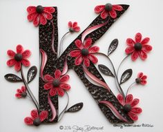 Pink Daisies Quilled Letter K Monogram