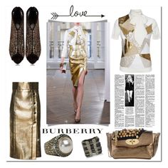 """gold skirt"" by bellamonica ❤ liked on Polyvore featuring Ralph & Russo, Studio Moda, Burberry and Carolina Herrera"