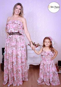 Vestido Longo Floral Rose Tal Mãe Tal Filha