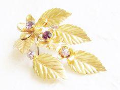 Vintage Purple Rhinestone Flower Leaf Brooch by GrandVintageFinery