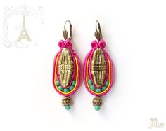 Items similar to FUCHSIA ROACH soutache earrings - original gift from Paris on Etsy Soutache Earrings, Drop Earrings, Fabric Jewelry, Beaded Embroidery, Jewerly, Polymer Clay, Beading, Fiber, Handmade Jewelry