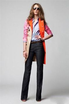 Colorful coat, shirt, flares