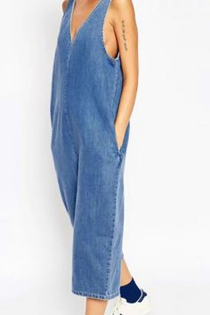 Fashionable V-Neck Wide Leg Denim Jumpsuit For Women Jumpsuits & Rompers | RoseGal.com Mobile