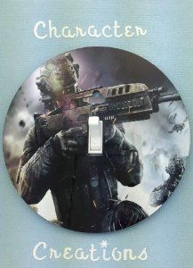 CALL OF DUTY BLACK OPS 2Light switch Cover 5 Inch Round (12.5 cms) Switch plate Switchplate by Character Creations. $12.00. Large 5 inches (12.5 cms) Lightswitch Cover. Hardboard with Beautiful Glossy Finish. Call of Duty Black Ops 2 Design. NOT a Sticker.  Image is heat sealed into the switchplate, therefore is completely washable.. Beautifully finishes off any room. This is a fantastic addition to any bedroom, recroom or office and is made from hardboard, with a glossy...