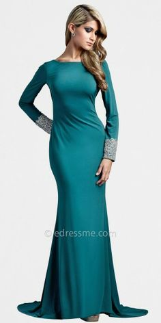 This sexy evening gown is perfect for winter formal events. It features long sleeves decorated by faux-rhinestone cuffs....Price - $583.00 - iCWBmKGJ