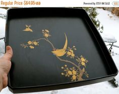BLACK Lacquer Tray Japanese  Elegant Black Gold Lacquer Japanese Tray Hand Painted Bird Perched on Blossoming Branch Antique Coc by StudioVintage on Etsy