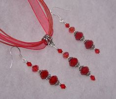 Valentine Romantic Red Crystal Earrings and by paulandninascrafts, $12.99
