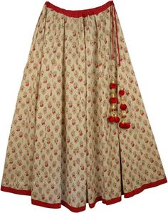 Moroccan Summer Inspired Festive Skirt TLB - Cotton Biege Clothing > Printed Cotton Long Skirt (Misses, Maxi Skirt, Peasant, Floral, Printed) Light Brown Elegant Princess Skirt - Get traditionally stylish with this festive-looking full circle cotton skirt Indian Skirt, Indian Dresses, Indian Outfits, Indian Designer Outfits, Designer Dresses, Sari Blouse Designs, Tropical Dress, Little Girl Dresses, Skirt Outfits