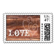 Love Hearts Barn Wood Rustic Wedding Postage Stamp
