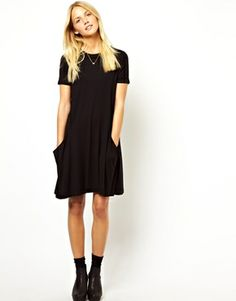 Image 4 of ASOS PETITE Swing Dress with Pockets And Short Sleeves
