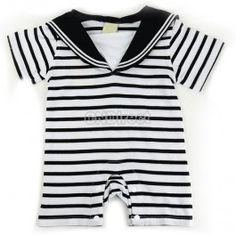 $7.10 New Infant Baby Navy Style Jumpers Cloths Stripe Romper Baby Sleep Suit