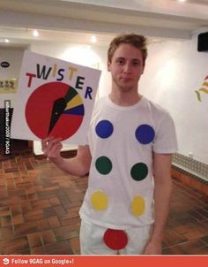 DIY Twister Halloween outfit for adults. For the ladies just give blue a bigger wedge too.