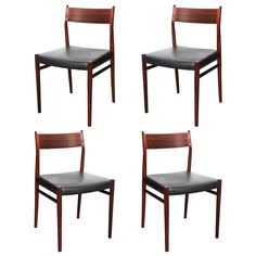 Set of 4 Rosewood and Black Leather Dining Chairs by Arne Vodder | 1stdibs.com