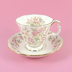 Vintage Royal Albert Tea Cup and Saucer Pink Brocade Rose Chintz Bone China England 1980s