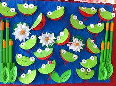 best Ideas for spring art projects for kids preschool classroom Kids Crafts, Summer Crafts, Projects For Kids, Art Projects, Kindergarten Art, Preschool Crafts, Frogs Preschool, Preschool Classroom, Frog Bulletin Boards
