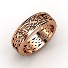Men's 14K Rose Gold Ring | Alhambra Band | Gemvara