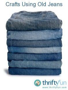 This is a guide about crafts using old jeans. Whether you are thinking of remaking them into other clothing items, decorations, rugs, or something completely different, there is a project just for you. Tons of those hangin' around. Jean Crafts, Denim Crafts, Fabric Crafts, Sewing Crafts, Sewing Projects, Scrap Fabric, Recycled Denim, Recycled Crafts, Recycled Clothing