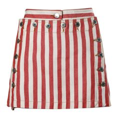 Dolce & Gabbana Red Striped Denim Mini Skirt with Lace Up Detail | 1stdibs.com