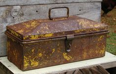 Vintage Toolbox  Rusty With Yellow Paint  Industrial by Idugitup, $42.75