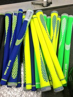 "May 14, 2013: ""Special delivery! Brand new #TourYellow @golfpridegrips,"" tweeted Srixon Golf (@SrixonGolf) of this colorful collection of grips from Golf Pride."
