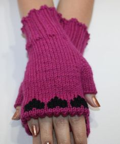 Embroided Hand Knit Wrist Warmers Fingerless by KnittingCarnival, $35.00