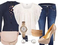 Très belle tenue aux couleurs marine, crème et or! De quoi se créer un look très romantique et chic! A retrouver ici: http://stylefru.it/s854229 #tenuedujour #bleumarine #couleuror #romantique