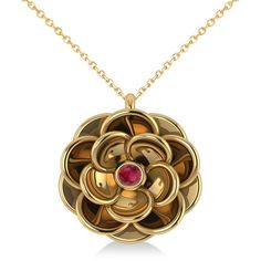 Allurez Ruby Round Flower Pendant Neckace 14k Yellow Gold (0.05ct) (640 AUD) ❤ liked on Polyvore featuring jewelry, pendants, flower jewelry, round pendant, flower jewellery, gold flower pendant and 14k gold pendants