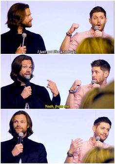 (Gifset) Omigosh, they're so adorable. Jensen's face is in the last gif is so doggone precious. <3 <3 <3