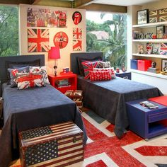 Awesome Union Jack themed Bedroom - Home Design Bedroom Themes, Kids Bedroom, Bedroom Decor, Bedroom Ideas, Union Jack Bedroom, British Bedroom, Union Jack Decor, British Home Decor, Deco Marine