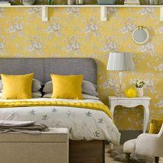 amarelo e cinza francês quarto casa ideal para casa
