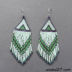 Мятные серьги из бисера Mint earrings