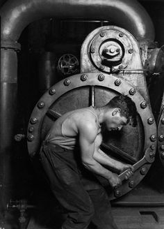 Lewis Hine, Powerhouse Mechanic (a.k.a. The Steamfitter), c. 1920s  I saw this picture today in a Con Edison building. I thought it was pretty awesome!