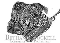 Pitbull Mandala Drawing by Bethany Stockell (BLS Designs). All rights reserved.