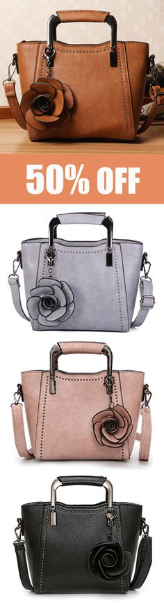 Women PU Leather Retro Rose Tote Bag Handbag Shoulder Bag Crossbody Bag. 2f3cadeaf8f