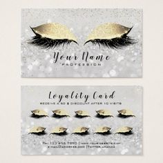 #Beauty Loyalty Card 10 Makeup Lashes Gold Gray WOW - #office #gifts #giftideas #business