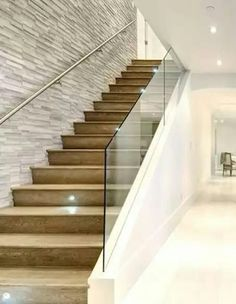 Glass Stairs Design, Staircase Design Modern, Staircase Railing Design, House Staircase, Balcony Railing Design, Home Stairs Design, Modern Stairs, Interior Stairs, Glass Stair Railing