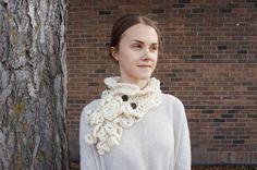 Sculptured Elegance Rose Scarf Ivory Scarf by ValerieBaberDesigns