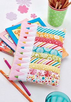 Patchwork Pencils Zippered Pouch - Free Sewing Project by Corinne Bradd for…