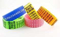 Patent-pending reusable silicone wristbands with race splits for the marathon and other distances. Pacebands come in different colors as well as miles and kilometers. Marathon, Half Marathon, and Best Running Gear, Running Workouts, Running Tips, Yoga Workouts, Marathon Tips, Half Marathon Training, Gifts For Runners, Born To Run, Runner Girl