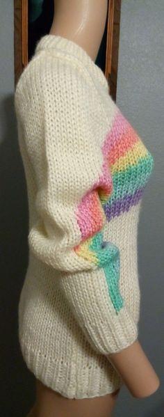 Vtg 80's Sultra Handknit Pastel Rainbow Kawaii Fairy Sweater S M | eBay
