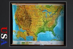 Vintage School Pull Down Map United States Of America