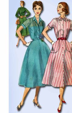 """Simplicity Pattern 2070 Misses' Shirtwaist Dress Pattern Slenderette Design with Tucked Bodice Dated 1957 Complete Nice Condition Envelope is Worn and Repaired Size 14 (34"""" Bust)"""