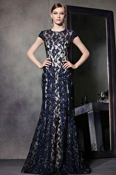 Blue A Line Lace Cap Sleeve Formal Evening Dress 81869