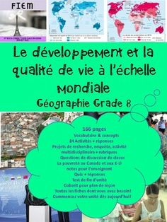 French Immersion, Grade 8 Géographie 166 READY-MADE slides to support your work with your geography unit about: Global development and quality of life in the world. Check out the PREVIEW FILE. EVERYTHING YOU NEED! and SAVE YOURSELF HOURS OF WORK!!!!!! 7 slides on Poverty in Canada! French Immersion, Canada, Questions, You Working, The Unit, Education, Classroom Ideas, Life, Check