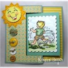 Card made by Kristine Breach using Serendipity Stamps' Sprinkler stamp